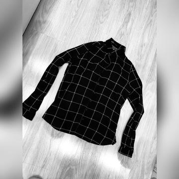 Koszula bluzka golf top w kratę damskie czarna