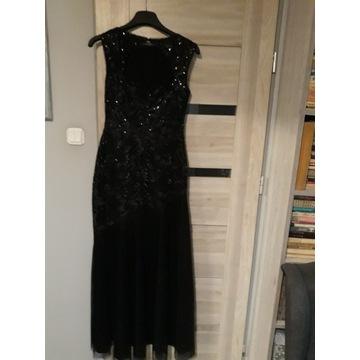 Czarna długa sukienka wizytowa __36__druga GRATIS