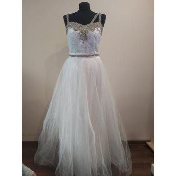 Suknia ślubna 2w1 koronka aplikacje