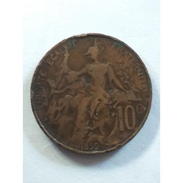 Francja 10 centymów, 1899 rok!!! ODWROTKA!