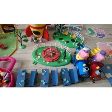 Ogromny zestaw Świnka Peppa domki, auto, pociągi
