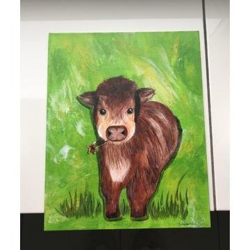 Obraz Krowy na zielonym tle, akryl płotno