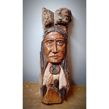 Rzeźba Indianin western  drewno kora prezent