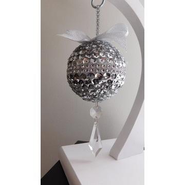 Bombka srebrna glamour cekiny kryształki 20 cm