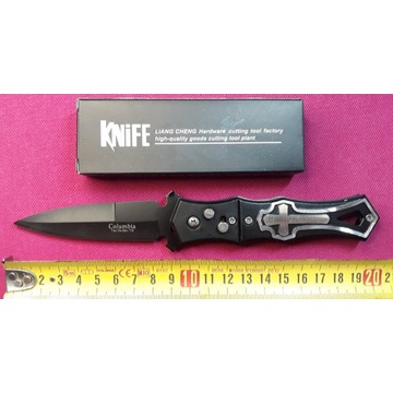Nóż scyzoryk spreżynowy automat Motyw krzyż 20,5cm