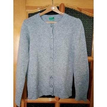 sweter damski 100%wełna , szary , Benetton , r.36