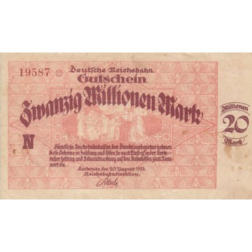 20 mln marek Karlsruhe 1923 kolejowy