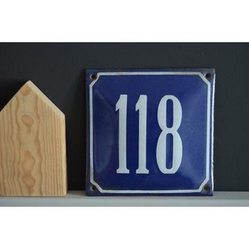 Tabliczka tablica metalowa z numerem 118 loft prl