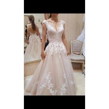 Suknia Ślubna, blady róż XS