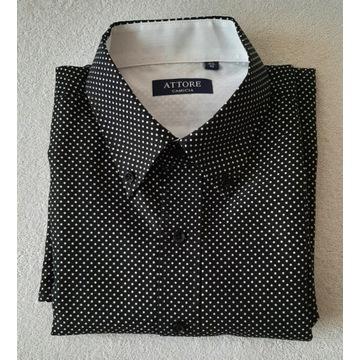 Koszula męska czarna w białe groszki - rozm. 40