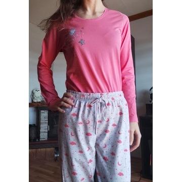 Piżama długi rękaw komplet M różowo szara Vienetta