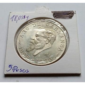 5 pesos 1959r. Meksk AG Srebro stan 1