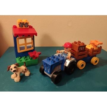 Lego Duplo niebieski traktor z przyczepą 4969