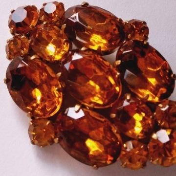 Biżuteria #92 Broszka Szkło  kolor Pomarańcz Ogień