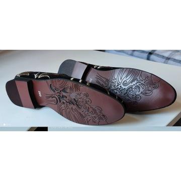 Buty męskie eleganckie mokasyny wsuwane zamszowe
