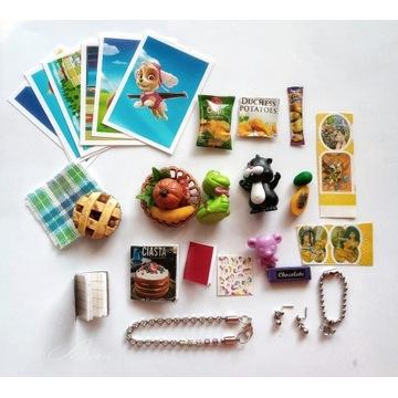Miniaturki dla lalek - jedzenie figurki i naklejki