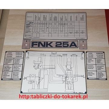 Frezarka TOS FNK 25 A Tabliczka Tabliczki Tabela