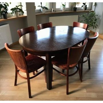 Stół okrągły 100-195 cm + 6 wygodnych krzeseł