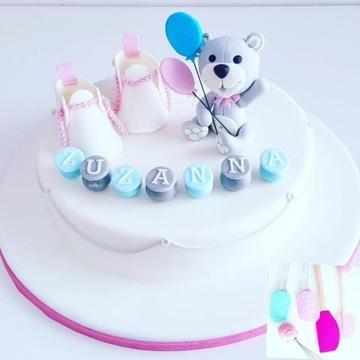 Miś z cukru/ dekoracja na tort/ miś na tort/ misie