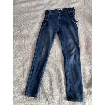 Spodnie jeansowe ze sznurkami rozmiar S promocja
