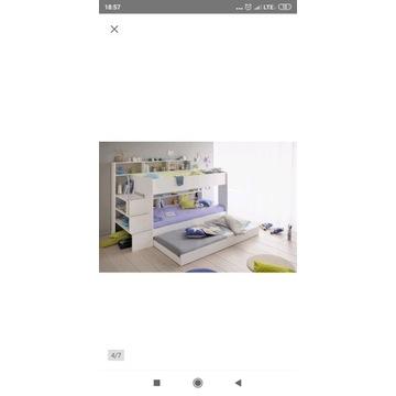 Łóżko piętrowe bibop 3 osobowe wielofunkcyjnebiałe