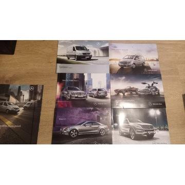 Zestaw prospektów Mercedes 16 sztuk + teczka