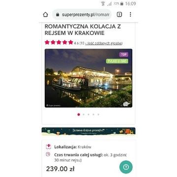 Rejs statkiem dla dwojga w Krakowie+kolacja