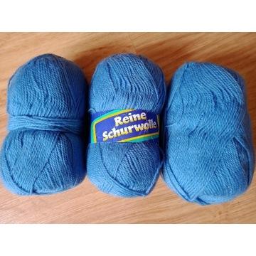 Włóczka czysta żywa wełna 100% niebieska 150 g