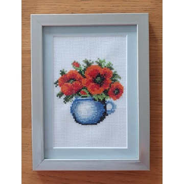Obrazek ręcznie haftowany, motyw kwiatowy/ kwiaty