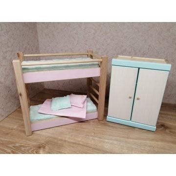 łóżko piętrowe i szfa dla lalek mebelki drewniane