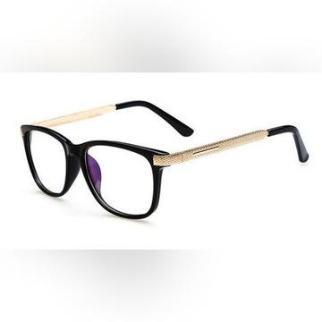 okulary zerówki kujonki złota oprawka do komputera