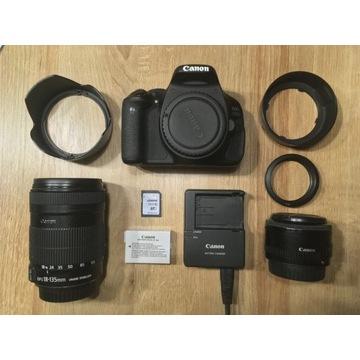 Canon 600D + 18-135mm 3.5-5.6 + 50mm 1.8 zestaw