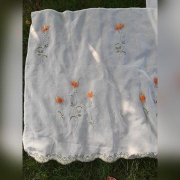Firana haftowana w kwiaty ecru 450x110