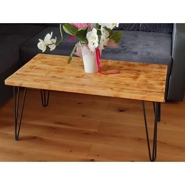 Nowoczesny kawowy stolik drewniany typu Industrial