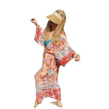 KOLOROWA narzutka plażowa  PAREO BOHO kimono