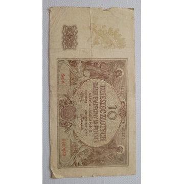 Banknot 10 zł  1940 rok