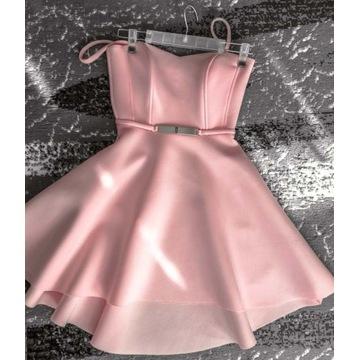 Krótka różowa piankowa sukienka An-Mar, r. 34, S