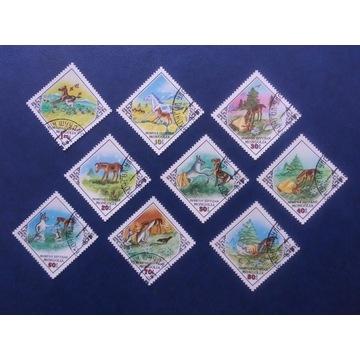 Znaczki pocztowe - Mongolia 9 sztuk.