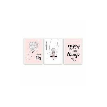 Obraz trzyczęściowy Baby Pink 109x50 cm3szt