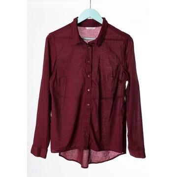 Camaieu 44 Koszula tunika bordo rękaw roll up