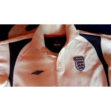 Anglia polo białe tshirt UMBRO England L