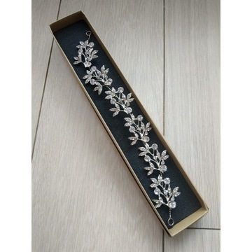 ślubna ozdoba do włosów stroik kwiaty cyrkonie