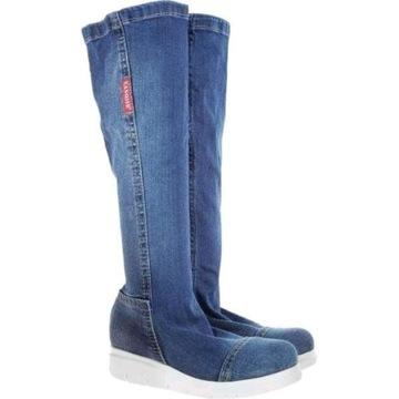 Buty damskie LANQIER kozaki botki jeans roz. 40