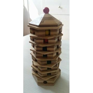 Drewniana wieża Montessori gra logiczna