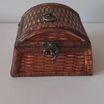 Retro Szkatułka drewniano-wiklinowa na biżuterię