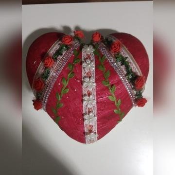Ozdobione serce hand made prezent upominek kwiaty