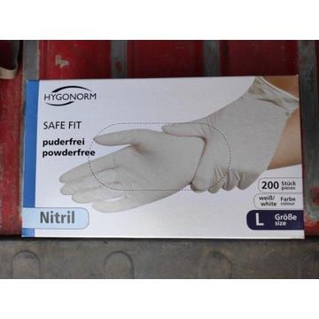 Rękawiczki nitrylowe bezpudrowe białe 200 sztuk L