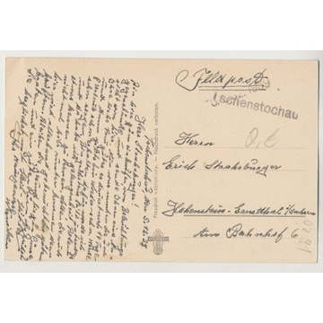 Stempel Prowizoryczny Częstochowa Feldpo 1939 O291