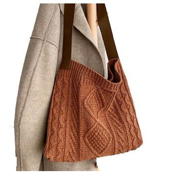 WEŁNIANA torebka worek na ramię Sweter VINTAGE
