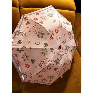 Parasol dziecięcy różowy składany z pokrowcem róż